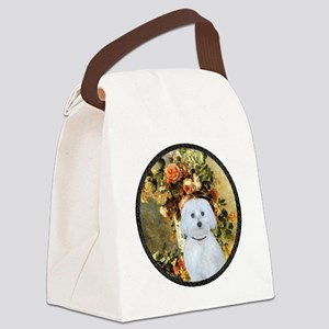 Vase - Maltese (B) - round Canvas Lunch Bag