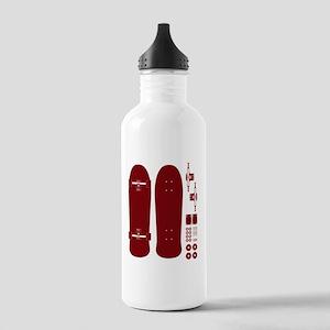 skateboardred Stainless Water Bottle 1.0L