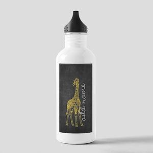 Funky Chalkboard Giraffe Water Bottle