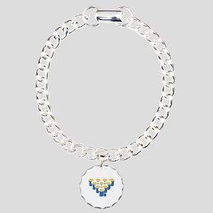 Beer Pong Player White Charm Bracelet, One Charm
