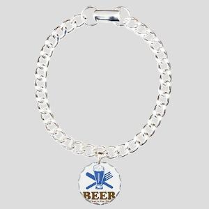 Beer For Dinner White Charm Bracelet, One Charm