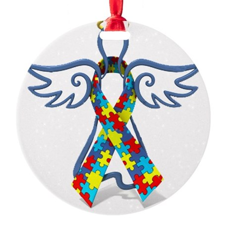 Autism Angel 10x10 Round Ornament