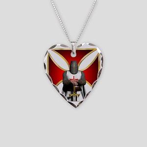 TemplarandCross Necklace Heart Charm