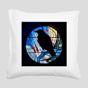 Raven Silhouette Square Canvas Pillow
