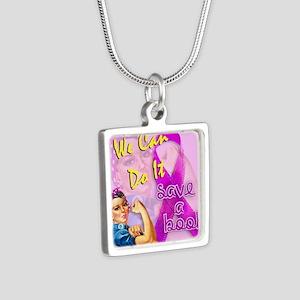 Rosie - Save a Boob Silver Square Necklace
