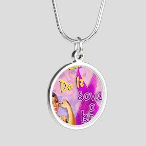 Rosie - Save a Boob Silver Round Necklace