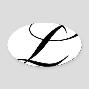 l_blackwhite Oval Car Magnet