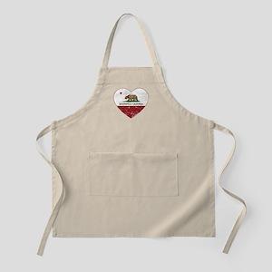 california flag bakersfield heart distressed Apron