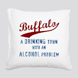 Buffalo Drinks Square Canvas Pillow