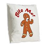Bite Me Burlap Throw Pillow