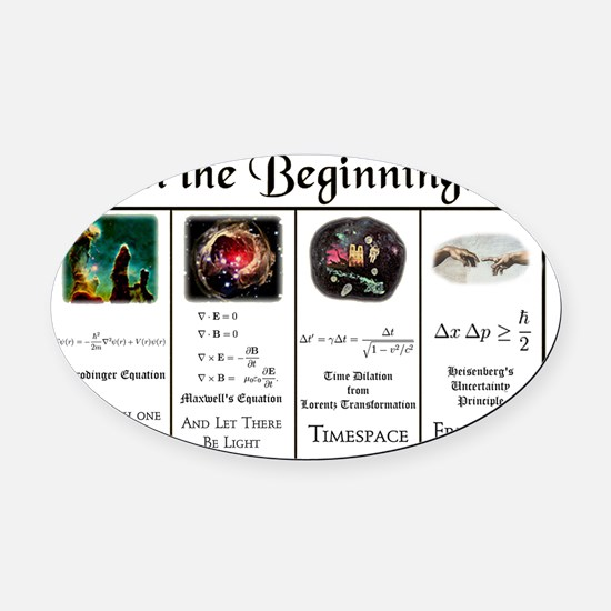 In the Beginning copy Oval Car Magnet