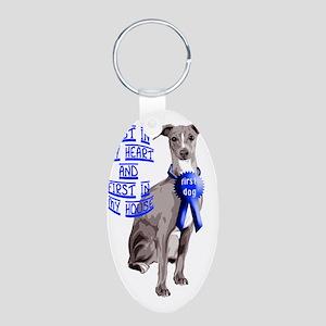 italian_greyhound_first _do Aluminum Oval Keychain