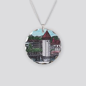 lucerne small print Necklace Circle Charm