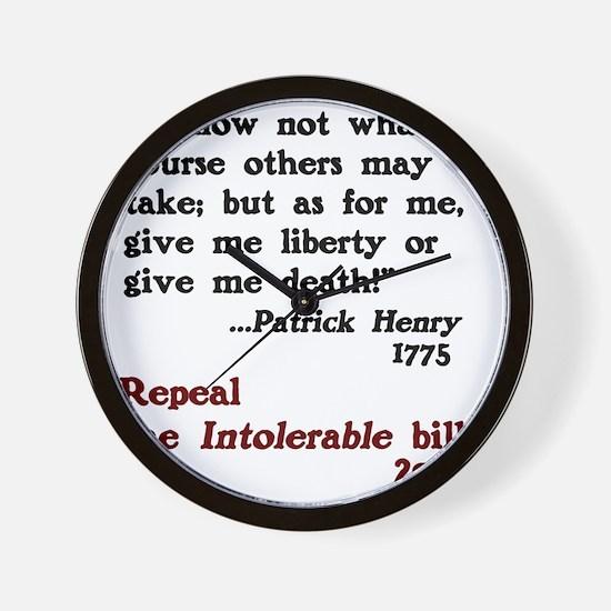 Patrick Henry Intolerable Bill Wall Clock