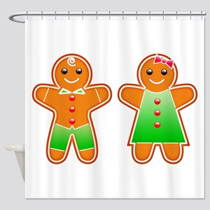 Gingerbread Couple Shower Curtain