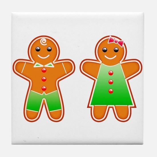 Gingerbread Couple Tile Coaster