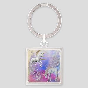 Unicorn Fantasy Sky Square Keychain