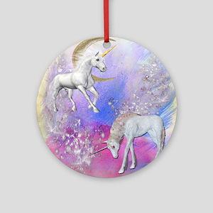 Unicorn Fantasy Sky Round Ornament