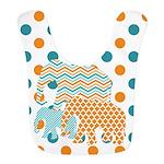 Orange And Blue Elephants Bib