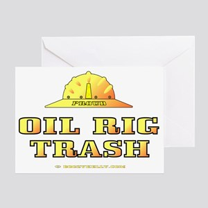 Oil Rig Trash Gold A4 use trnsp Greeting Card