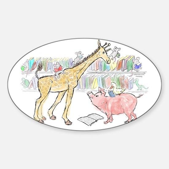 giraffe pig link Sticker (Oval)