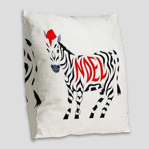 Christmas Noel Zebra Burlap Throw Pillow