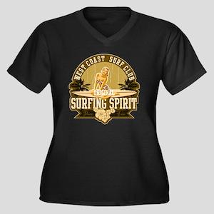 Surfing Spir Women's Plus Size Dark V-Neck T-Shirt