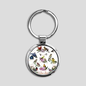 12 X T birds copy Round Keychain