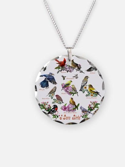 12 X T birds copy Necklace Circle Charm
