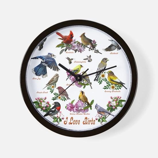 12 X T birds copy Wall Clock