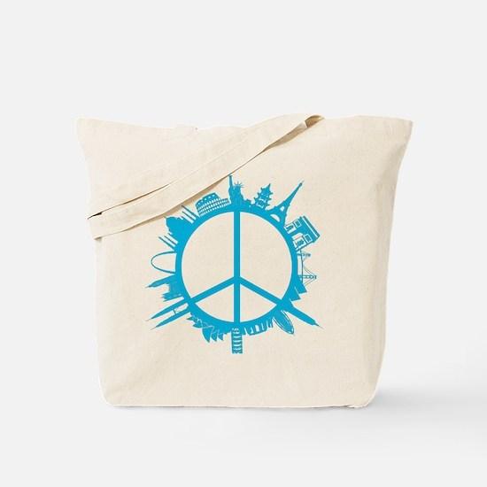world peace cyan Tote Bag