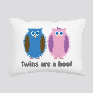 Twin Owls Blue Pink Rectangular Canvas Pillow