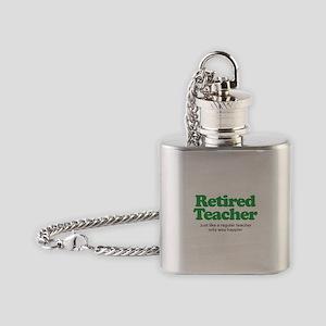 Retired Teacher Way Happier Flask Necklace