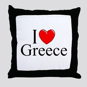 """I Love Greece"" Throw Pillow"
