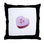 Biohazard Candy Heart Throw Pillow