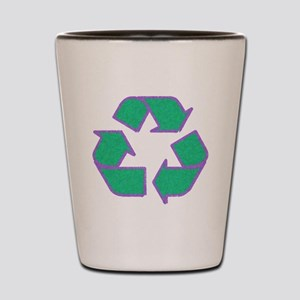 recycle green purple outline Shot Glass