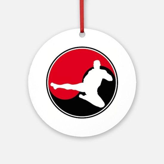 Karate Round Emblem Red Ornament (Round)