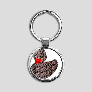 Leopard ducky Round Keychain