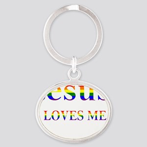 Jesus Loves Me - White Oval Keychain