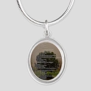 Brett16x20Vert_Tree2 Silver Oval Necklace