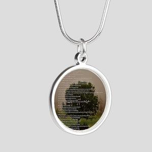 Brett16x20Vert_Tree2 Silver Round Necklace