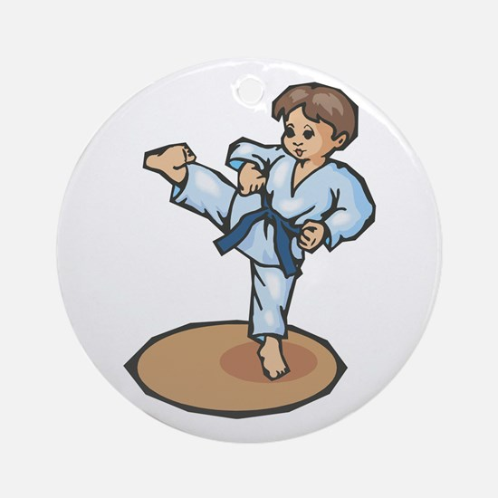 Karate Little Boy Ornament (Round)