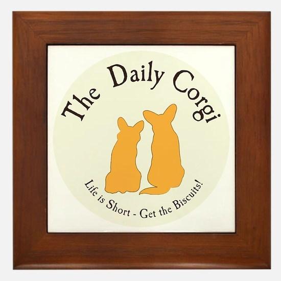 LARGE CIRCULAR daily corgi logo Framed Tile