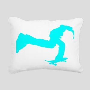 pushing_cyan Rectangular Canvas Pillow