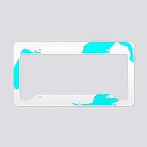 pushing_cyan License Plate Holder
