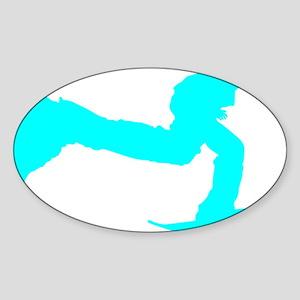pushing_cyan Sticker (Oval)