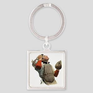 Vintage Sports Baseball Catcher Square Keychain