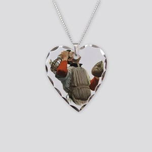Vintage Sports Baseball Catch Necklace Heart Charm