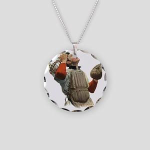 Vintage Sports Baseball Catc Necklace Circle Charm