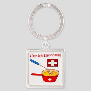2-I love fondue Square Keychain